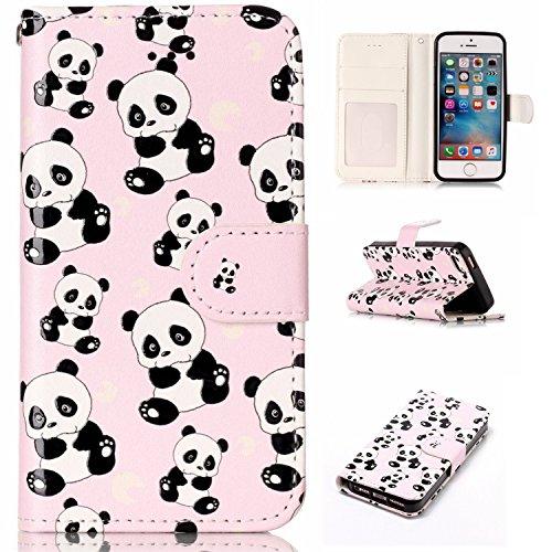Hozor Apple iPhone 5 / 5S / SE 4.0 Zoll Hülle Gemalte Erleichterung Drucken Design PU Ledercase Tasche Schutzhülle Anti-scratch Magnetverschluss Telefon-Kasten Handyhülle Bookstyle Handycover - Panda