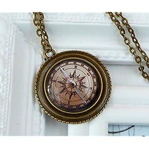 Kompass Halskette in bronze, Seefahrt, Navigation