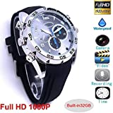 Waterproof Spy Hidden Watch Camera with 1080P Full HD Life with IR Night