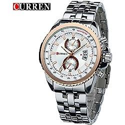 CURREN Men's Fashion Sports Quartz Analog White Dial White Stainless Steel Strap Wrist Watches 8082G