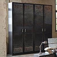 Preisvergleich für Kleiderschrank 4 Dreh-Türen B 181 cm Industrial-Print-Optik Schrank Drehtürenschrank Wäscheschrank Holzschrank Kinderzimmer Jugendzimmer