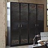 Kleiderschrank 4 Dreh-Türen B 181 cm Industrial-Print-Optik Schrank Drehtürenschrank Wäscheschrank Holzschrank Kinderzimmer Jugendzimmer