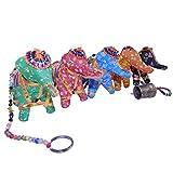Décoration MOBILE Suspension en corde Éléphants en tissu avec perles et clochettes déco intérieure Fabrication Artisanale...