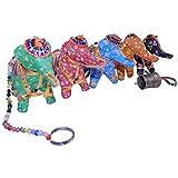 Cordón móbil elefantes tela perlas doradas campanitas India habitaicón infantil decoración