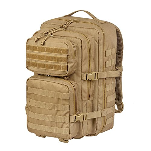Trekkingrucksack Wanderrucksack Jagdrucksack Survival Rucksack Assault Pack groß mit Klettpatches und Brustgurt Blacksnake® - Large - Coyote
