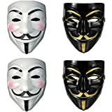 MVR TRADERS Plastic Fawkes Mask Anonymous VIP Edition Face-Mask Perfect Fit Cosplay Protest V For Vendetta DC Comics (Black & White Pack Of 4)