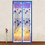 Magnetic Head of embroidery door of the networks, the ventilation silent thermal insulated curtain of flower printed door screen curtain magnetic anti-les mosquitoes y-floor balcony mesh curtain on - a 80 x 210 cm (31 x 83 Customs)