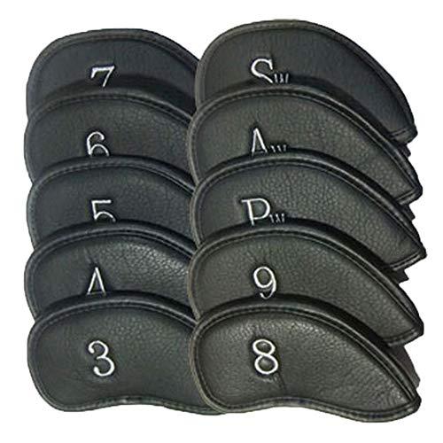 Bequem Litschi PU Golfschlägerhülle Classic Retro Golf Putter Headcover Firm Fit Standardgröße Golf Putter Protector mit Nr. Tag, 10PC dauerhaft (Farbe : Schwarz, Größe : Free)