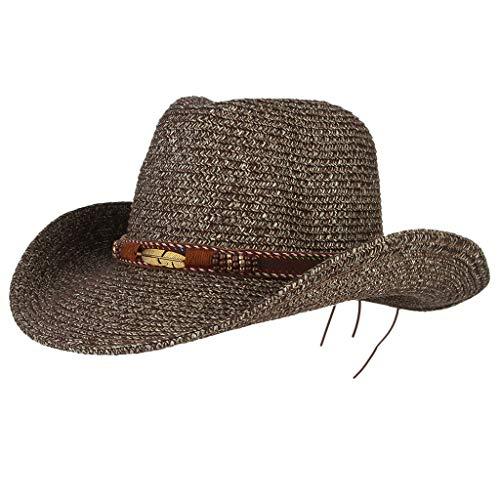 Sonnenhüte Für Männer Frauen Strandhüte Dome Cowboy Panamahut Hochzeitshut Fedora Hut UV-Schutz Einstellbare Sommer Faltbare Breiter Krempe Cap Hut (Kaffee)