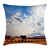 FAFANI Western Decor Throw Pillow Cushion Cover, Horse in Monument Valley Open Sky with Clouds in Arizona America Landscape, Decorative Square Accent Pillow Case, 18 X 18 Inches, Cream Blue
