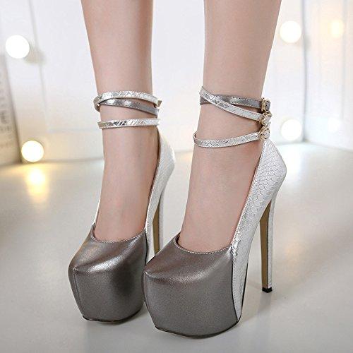 GS~LY Schuh-Schnalle, Serpentin Licht Schuhe Plateau high heels Silver