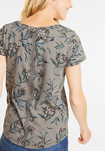 CECIL Damen Acid Wash Blütenprint Shirt graphit light grey (grau)