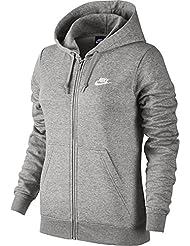 Nike W Nsw Hoodie Fz Flc Sudadera, Mujer, Gris (Dk Grey Heather / Dk Grey Heather / White), M