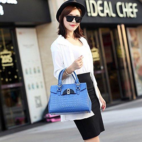 X&L Damen Leder Krokodil Mode Handtasche Umhängetasche Blue