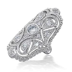 Bling Jewelry Clear CZ Vintage Style Finger Armor Ring Rhodium Plated
