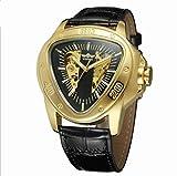Winner Reloj para Hombre Automático Esqueleto mecánico Triángulo Dial 3-Puntero Correa de Cuero PU Reloj de Negocios,goldandblack2