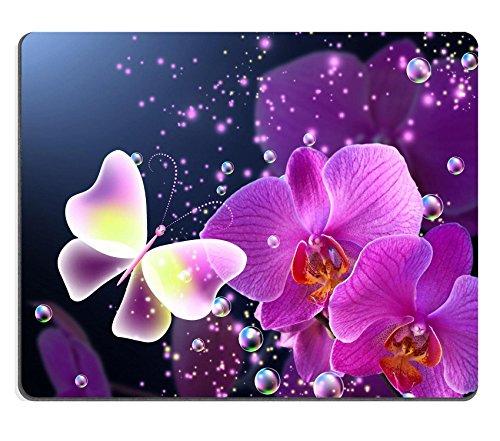 luxlady-gaming-tapis-de-souris-dimage-32546060-magic-papillon-avec-orchidees-rose-et-bulles