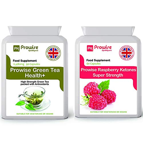 Green Tea 90 Capsules 12480mg + Raspberry 600mg (60 Capsules)- Premium Quality - Fat Metabolism, Weight Management, Fat Burner, Natural Ingredients, UK Manufactured.