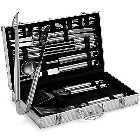 VonHaus 24-piece BBQ Utensil Set - Stainless Steel Set in Aluminium Case