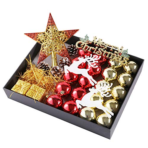 Fangkuai-xmas 31 pezzi infrangibile lusso palline di natale impostato, ciondoli decorazioni natalizie, confezione regalo, brillante/luccichio/matte, rosso e oro
