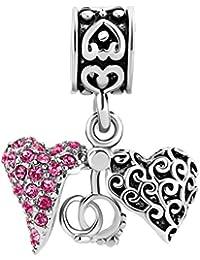Korliya - Abalorio para Pulsera, diseño de corazón Abierto