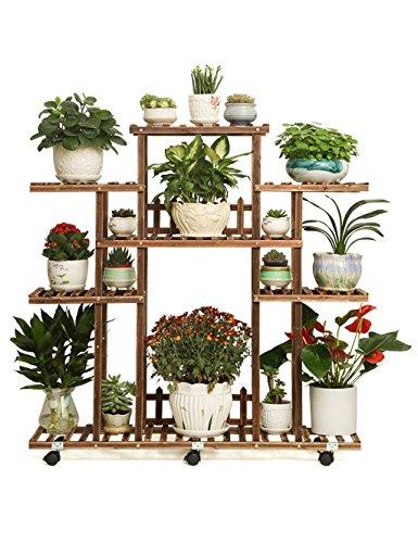 Echotang Holz Blumen Rack mit Rollen Movable Blumentopf Display Regal Pflanzenständer, 110 * 112 *...