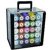 LIULAOHAN Chips di Poker, valigie Trasparenti con 1000 Pezzi di Monete da 14 g di Chip di intrattenimento Clay, Adatto per Mahjong/Giochi di Poker/Party (43 mm × 3 mm) (Color : Multi-Colored)