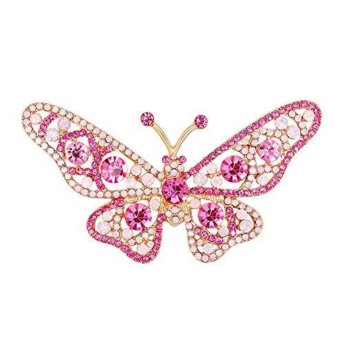 Trada Schmetterlinge Brosche, Mode Multicolor Crystal Diamond Brosche Retro Kupfer Anstecker Anstecknadeln Geschenk Schmuck für Damen Kleidung Dekoration Mantel Hemd Deko (Rosa)
