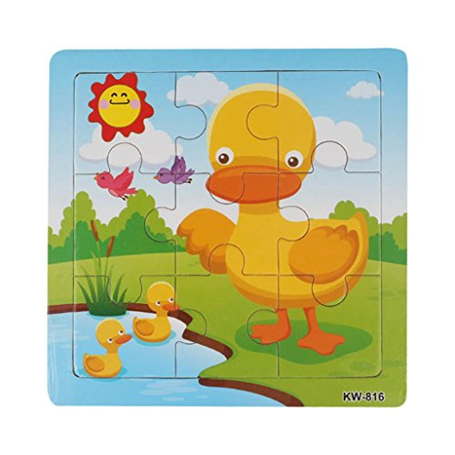 Fulltime(TM) 9 PCS Wooden Duck Jigsaw Toys For Kids Education And Learning Puzzles Toys