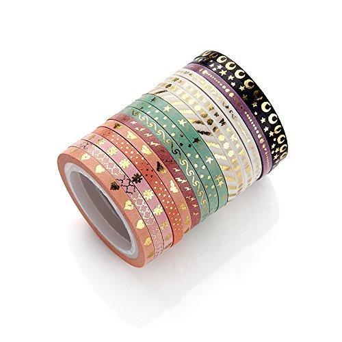 AGU Folie gold Skinny Washi Tape DIY Japanisches Abdeckband Supplies-Set 16Stück