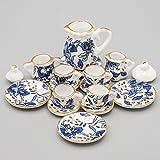 Odoria 1/12 Miniatur Geschirr 15 Stück Chinesisch Blauen und Weißen Teeservice Set Für Puppenhaus Küche Zubehör