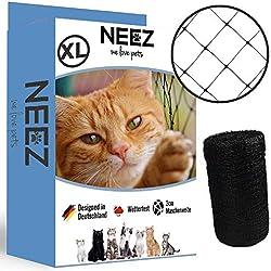 NEEZ Filet pour chat XL pour balcons et fenêtres I Filet de sécurité robuste avec kit de fixation I Fixation du filet pour chat pour balcon sans perçage I Taille 2,5x10m