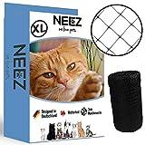 NEEZ XL Katzennetz für Balkon & Fenster I Robustes Schutznetz inkl. Befestigungsset I Befestigung des Katzenschutznetz für Balkon ohne Bohren I Größe 2,5x10m