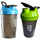 Combo Of 2 (500ml + 500ml) Green + Blue Life Is A Sport Shaker Bottle, Protein Shaker / Sipper / Gym Bottle / Water Bottle / Good Quality Shaker Bottle For Both Men's / Women's / Boy's / Girl's Pack Of 2 (500ml + 500ml) Shaker, Bottle, Sipper
