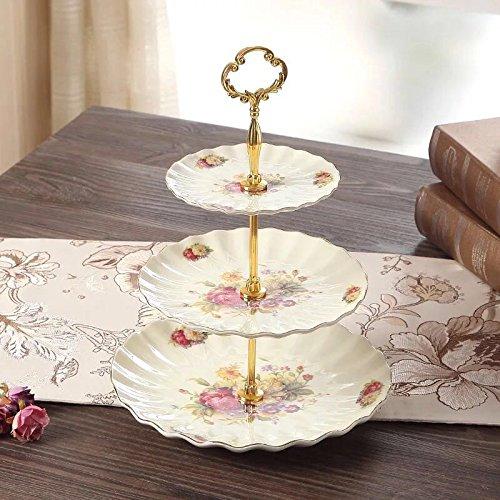 Panbado, 3-stöckig Etagere aus Porzellan, für Kaffeeservice, Cupcake Obst Kuchen Ständer