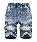 LAUSONS Kinder Jeans Shorts Jungen Kurze Jeanshosen Zierrissen Kurze Hose mit Elastischem Bund 152-164cm