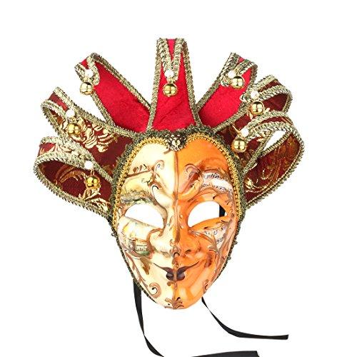 YUFENG Jolly venezianischen Comedy-Maske Rot Farbe Exquisite Dekoration Jester Masken für Party Holloween