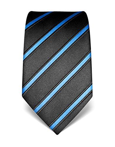 Vincenzo Boretti Herren Krawatte reine Seide gestreift edel Männer-Design gebunden zum Hemd mit Anzug für Business Hochzeit 8 cm schmal/breit blau