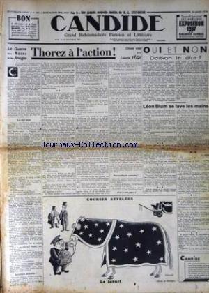CANDIDE [No 680] du 25/03/1937 - LA GUERRE DES ROSES ET DES ROUGES - THOREZ A L'ACTION PAR CAMILLE FEGY - LEON BLUM SE LAVE LES MAINS - SENNEP - R.L. STEVENSON.