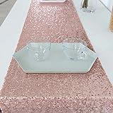 GFCC Chemin de Couloir à Paillettes pour Mariage/fête d'anniversaire/Baby Showers/Photographie, Rose Gold, 14x108-Inch Table Runner