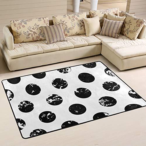 JSTEL - Alfombra Lavable, Suave, Abstracta, Color Blanco y Negro, diseño de Lunares, 90 x 60 cm (2 x 3 pies), 180 x 120 cm