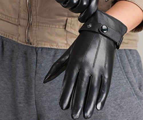 GQQgloves Gants en peau de mouton pour hommes hiver tactile affaires chaude cuir moto noir brun Black