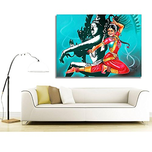 Canvas Painting - Radha Krishna - Raasleela - Kerala Mural Art For Home , Living Room & Office Decor / Canvas Painting / Wooden / Large / Modern Art / Abstract Art / Bright / Colorful / Textured Painting for Home / Bedroom / Drawing Room / Dining / Hall / Office / Cabin / Lobby / Decoration / Wall Hanging / Easy Installation / Positioning / Fitting in 18 inch x 18 inch size By Printelligent  available at amazon for Rs.299