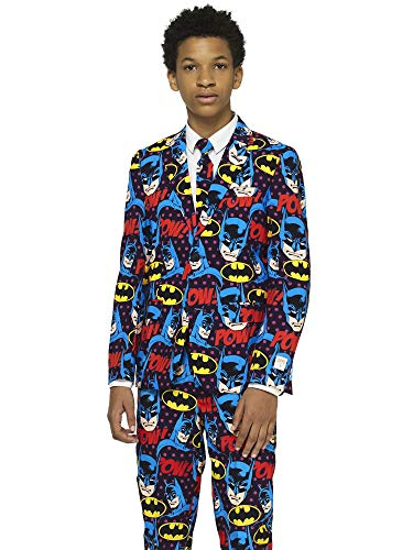 Opposuits Crazy Suits for Boys in Different Prints - Comes with Jacket, Pants and Tie In Funny Designs, Farbe:The Dark Knight, Gr. 134/140 EU (10Y)