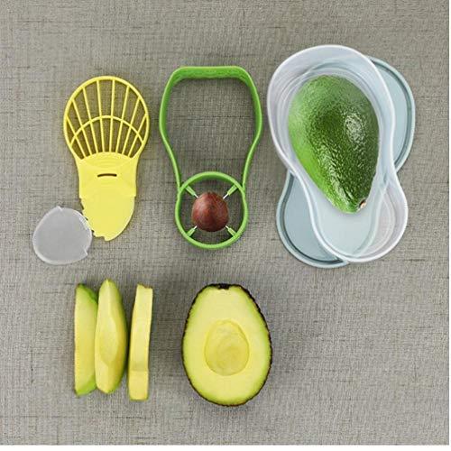 Gamloious 3-in-1 Avocado Keeper Vorratsbehälter Avocado Werkzeug Avocado Slicer Shea Butter Corer Peeler Separator-Küche Gemüse-Werkzeuge -