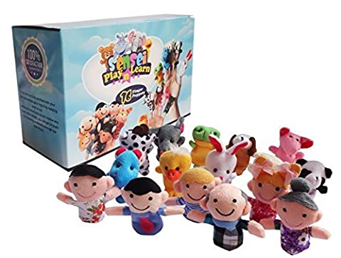Sensei Play 'n' Learn Finger Family Puppets - People & Animals - 16 pcs - Finger Puppets Zoo Animals & Family Puppets For Kids, Babies, Toddlers & The Whole
