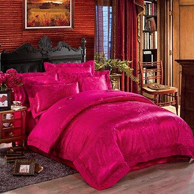 AIURLIFE Hermosa flor de lujo seda/algodón mezcla duvet cover juego de cama tamaño reina rey , king