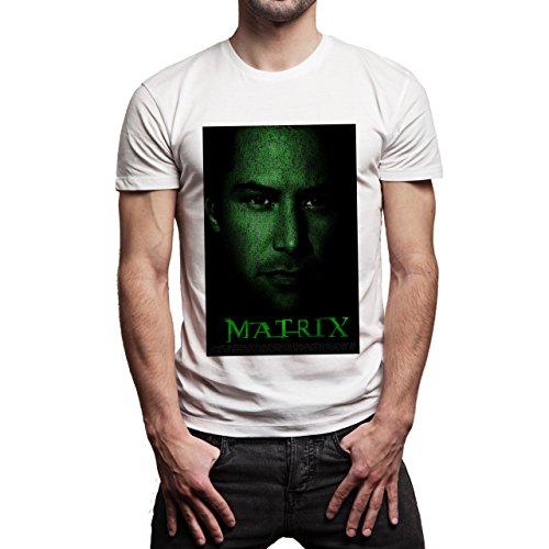 Matrix Revolution Reloaded Morpheus Neo Movie Black Face Background Herren T-Shirt Weiß