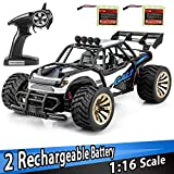 Bfull Maßstab 1:16 Ferngesteuertes Elektro RC Auto Geländewagen 2,4 GHz Radio Fernbedienung Auto 2 Watt 20MP High Speed Wüstenbuggy Racing Monster Truck 2 Akkus mit Ladegerät Kinder