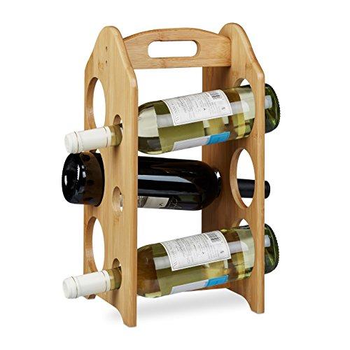 Relaxdays Weinregal aus Bambus, für 6 handelsübliche Flaschen, mit Griff, Originelles Design,...
